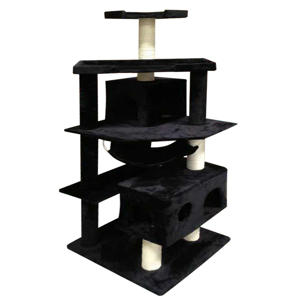 Vidagoods 71'' Black Tall Big Fat Cat Tree Condo Furniture Scratch Post Play House CARB2-Certified Wood Particle-board (Black)