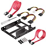 Qook 2x 2.5 Inch SSD to 3.5 Inch Internal Hard Disk Drive Mounting Kit Bracket(SATA Data Cables and Power Cables included)