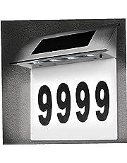 Kacniohen Dörrnummerljus, LED-dörrskylt registreringslampa, sol LED rostfritt stål husnummer, ytterväggspanelljus för trädgård, terrass, garage