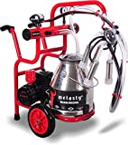 Melasty Cow Milking Machine Portable Electric with Wheels and Two Handles to Ease Milk Transportation. Milk 1 Cow in 6 Minutes