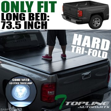 Super Cab 6' Box - Topline Autopart Solid Tri-Fold Hard Tonneau Topper Cap Cover JR 05-15 Toyota Tacoma Regular Stranded / Access Extended / Double Crew Cab 6 Ft 72
