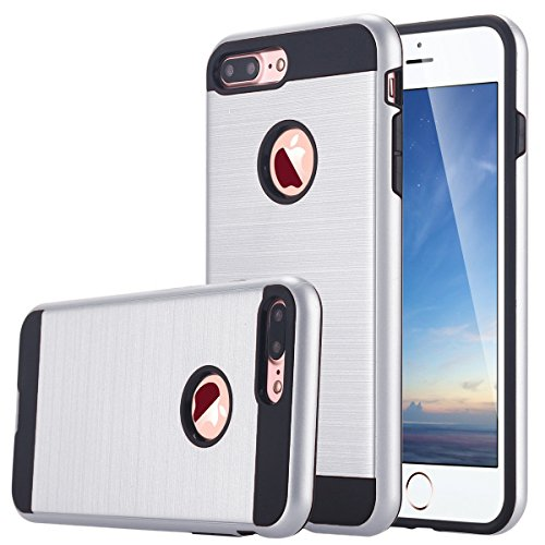 Armor Silicone Hybrid Shockproof Back Case PC Bumper For iPhone 7 Plus (Silver) - 6