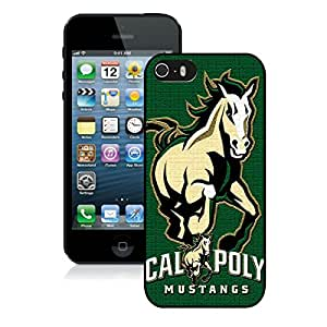 NCAA Big Sky Conference Football Cal Poly Mustangs 5 Black iPhone 5S Screen Cover Case Durable and Attractive Design