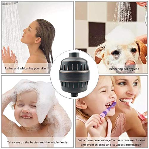 Color : Black ZHYLOVE Bathroom Shower Filter Bathing Water Filter Purifier Water Treatment Health Softener Chlorine Removal Oversea