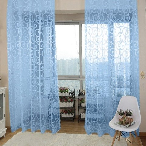 Solid Sweet Floral Tulle Voile Door Window Curtains Black - 6