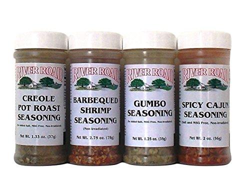 River Road By Fiesta Cajun Seasoning Favorites 4 Flavor Variety Bundle: (1) Barbequed Shrimp Seasoning, (1) Creole Pot Roast Seasoning, (1) Gumbo Seasoning, and (1) Spicy Cajun Seasoning, 1.25-2.75 Oz. Ea. (4 Bottles Total) by River Road