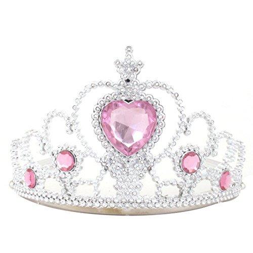 eDealMax Plastique Strass Tiara Couronne Bandeau Princesse Baguette ton Argent Rose ()