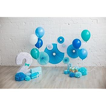 OFILA Baby Boy 2nd Birthday Backdrop 5x3ft Balloons Portraits Cake Smash Props