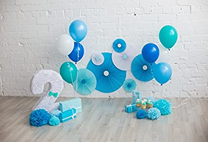 OFILA Baby Boy 2nd Birthday Backdrop 5x3ft Balloons Portraits Cake Smash Props