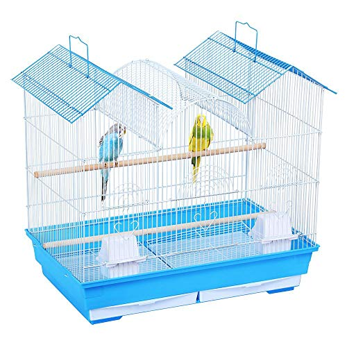 (Yaheetech 23''H Triple Roof Small Bird Cage for Parrakeets Parrotlets Budgies Lovebirds Canary Finch Small Parrots w/2 Handles/2 Slide-Out Trays/2 Feeding Cups/2 Bottom)