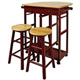Casual Home Drop Leaf Breakfast Cart with 2 Stools-Red