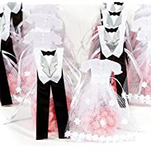 Pardao Bride & Groom Wedding Favor Bags - Thank You Gifts, 24 pcs (White Silver Black)