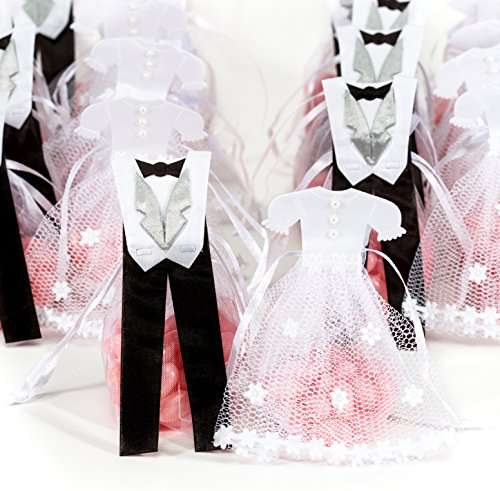 Pardao Bride & Groom Wedding Favor Bags – Thank You Gifts, 24 pcs (White Silver Black)