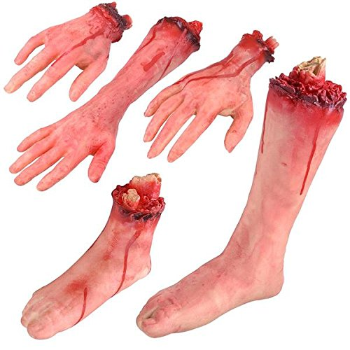 Chi Mercantile Halloween Prop Décor Realistic Severed Limbs Foot Leg Hands Macabre Gory Prank Home Outdoor Indoor Stage Production Decoration (5-Pieces) -