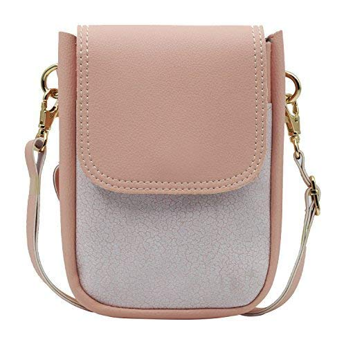 Two Tone Vegan Leather Fancy Cute Mini Cellphone Purse Crossbody Small Bag with Long Strap and Wrislet for Smartphone (Pink)