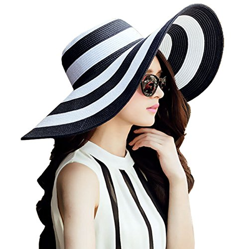 DRESHOW Straw Sun Hat Twist Bow Toquilla UPF 50+ Floppy Foldable Roll up Beach Cap Su Hat For Women (Black-White)