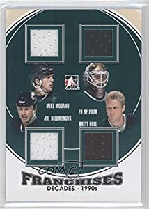 Mike Modano, Ed Belfour, Joe Nieuwendyk, Brett Hull #/95 (Hockey Card) 2013-14 In the Game Decades 1990s - Franchises Jerseys - Black #F-07