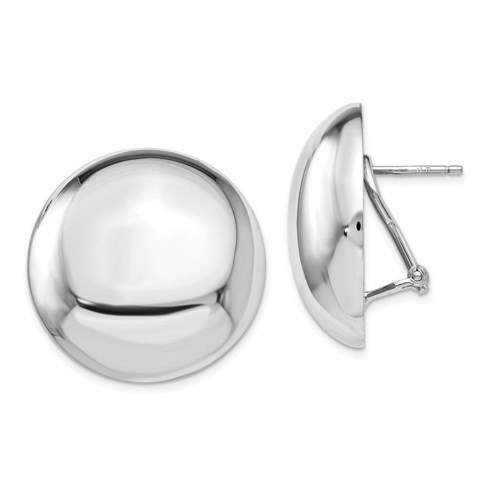 Leslie's Sterling Silver Polished Button Omega Back Earrings
