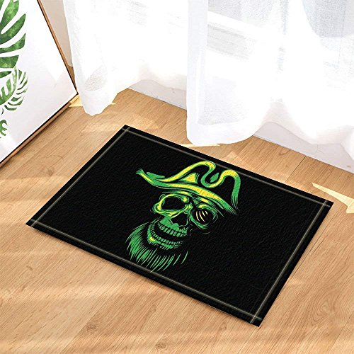 Halloween Decor,Green Skull Against Black Backdrop Bath Rugs Non-Slip Doormat Floor Entryways Indoor Front Door Mat Kids Bath Mat 15.7x23.6in Bathroom Accessories