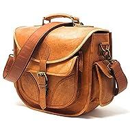 PURPLE RELIC: DSLR Leather Camera Bag ~ Travel Vintage Crossbody Shoulder Bag with Removable Insert ~ Fits Standard Size DSLR with Lens