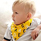 """Stadela Baby Bandana Drool Bibs for Drooling and Teething 4 Pack Unisex Gift Set for Boys and Girls """"First Alphabet set"""""""