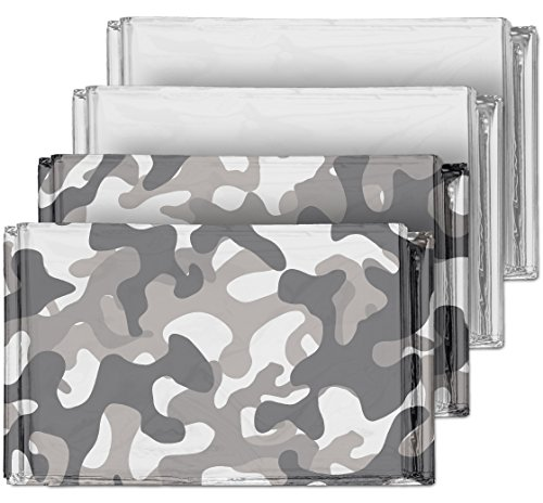 Camouflage Emergency Mylar Blankets (4-Pack) – Perfect for Outdoor Camping, Hiking, Survivalist, Shelters, Preppers, Hunting, First Aid Kit (Winter Camo (2) and Silver (2))