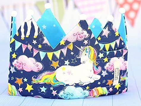 Corona de tela unicornios para cumplea/ños ni/ñas