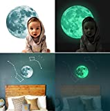 Marsway Creative 20cm Glow in the Dark Moon Night Luminous Stickers Removable Adhesive Wall Decal