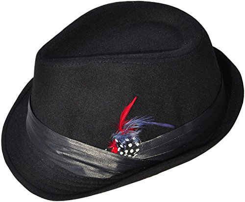 Simplicity Short Brim Teardrop Crown Wool Blend Fedora Hat -