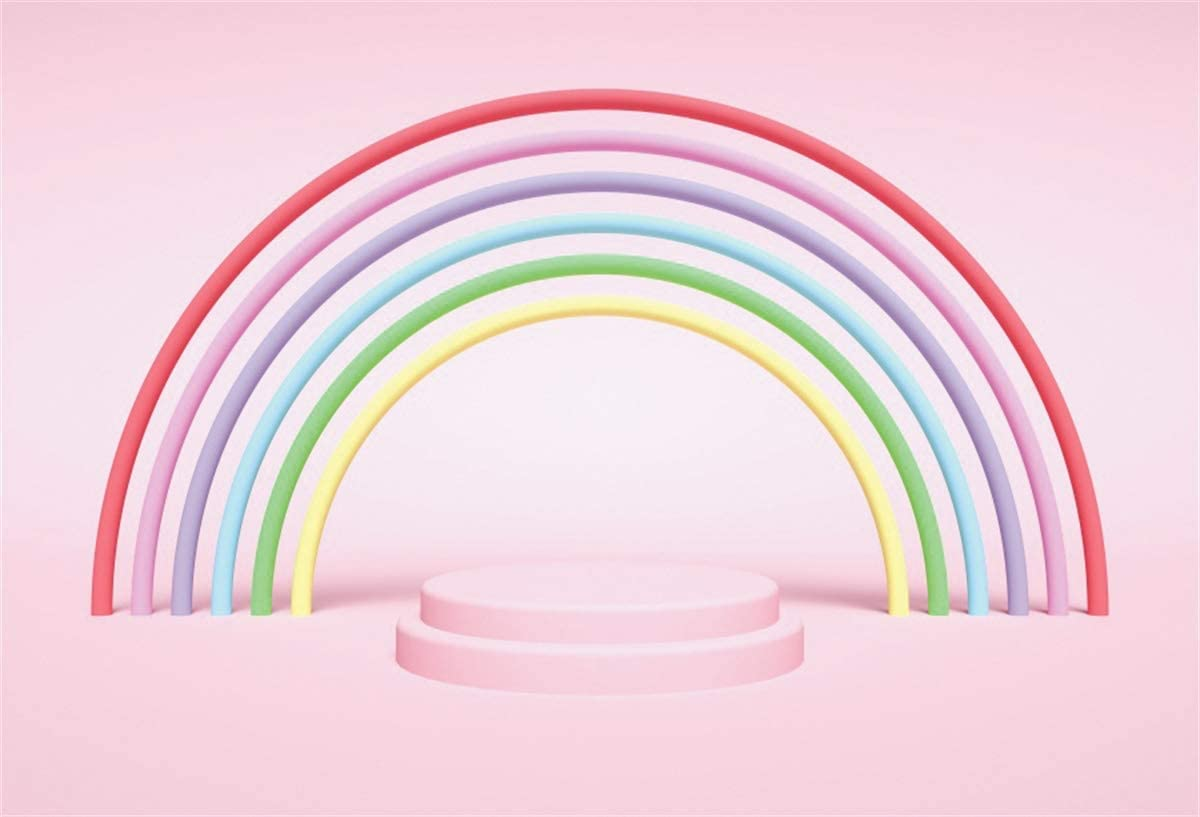 YEELE 12x8ft Pastel Color Rainbow Backdrop Kids Birthday Party Decoration Photography Background Son Daughter Portrait Prek School Baby Acting Show Childrens Day Photobooth Props Digital Wallpaper