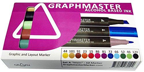 Alpha Markers (Graphmaster Grafikmarker 12er 12 Set A Main Box Grafik Design Marker Pens)