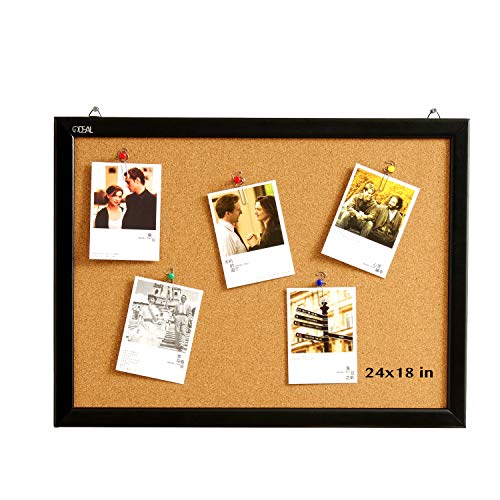 Wood Frame Cork Board Bulletin Board 24 x 18, Mounting Hardware, Push Pins Included by gideal