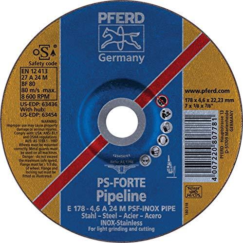 PFERD 63436 7'' x 1/8'' Pipeline Wheel, 7/8'' AH (4.6mm) A 24 M PSF-INOX-PIPE (10pk)