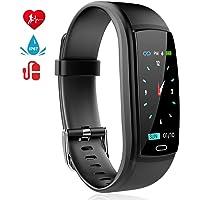 MINLUK Montre Connectée Podomètre Smartwatch Bracelet Connecté Fitness Tracker d'Activité Ecran Coloré Etanche IP67 avec Suivi de Fréquence Cardiaque, Sommeil, Calories etc. pour iPhone Android