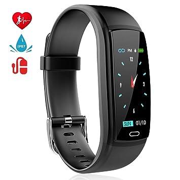 MINLUK Pulsera de Actividad Inteligente, Pulsera Bluetooth Impermeable IP67 con Pantalla Color, Monitor de
