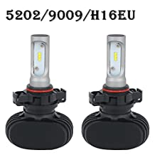 5202 H16EU LED Headlight Bulb 8000LM 6000K - 6500K Cool White All-in-One Conversion Kit LED Driving Fog Light for Replace Halogen Bulbs Headlights ,1Yr Warranty