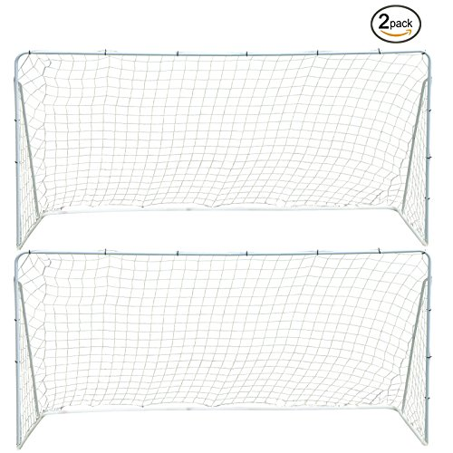 Fitnessclub Set of 2, 12' x 6' FT Portable Football Soccer Goal Pair of All Weathers Football Net Sports Competition Soccer Goal Kit (Goal Net Kit)