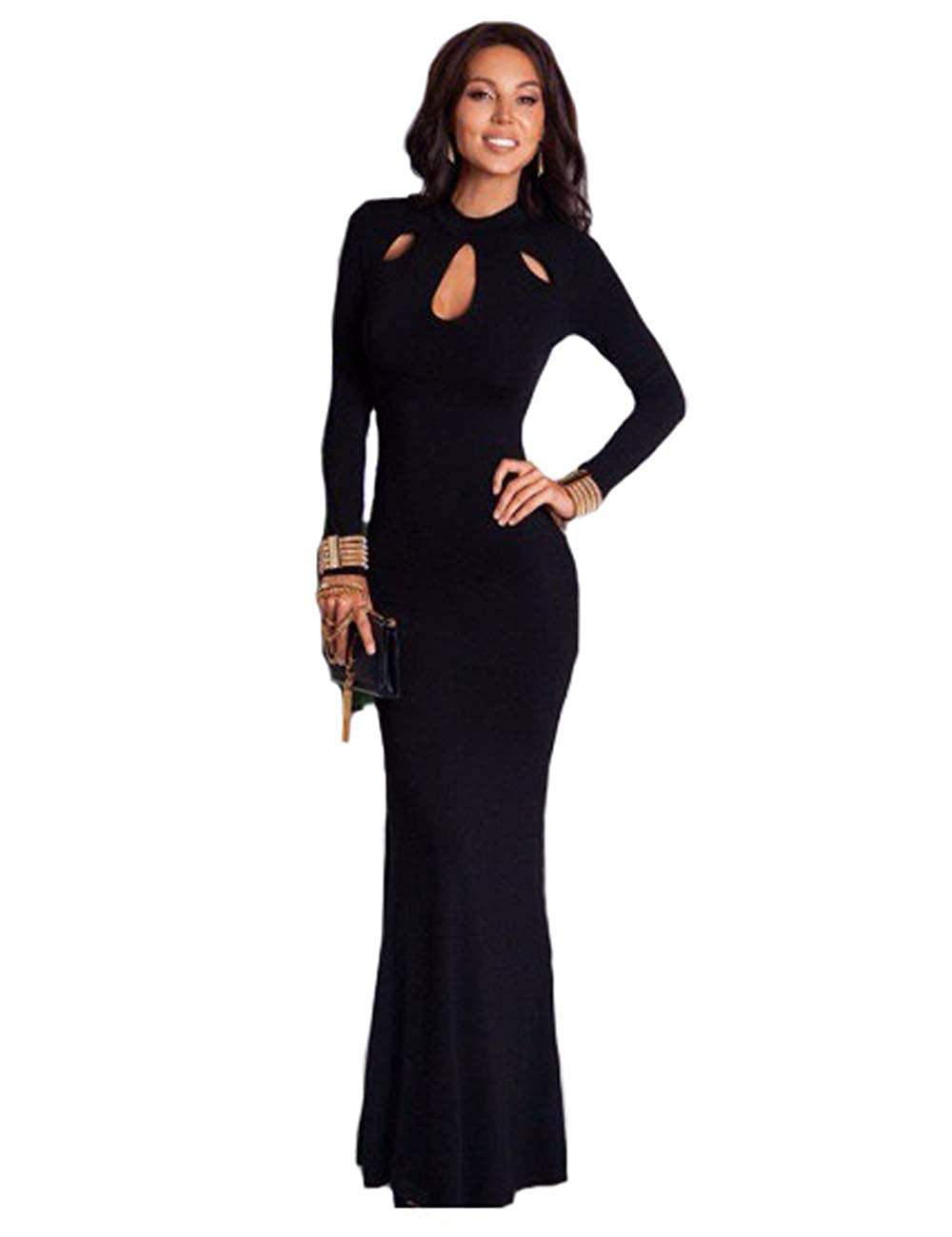 b427bbef45 Leezeshaw Women's Elegant Slim Long Sleeve Hollow Out Bodycon Maxi Dress