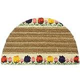 """Rubber-Cal """"Tulips Decorative Coir Outdoor Half Moon Doormat, 18 x 30-Inch"""