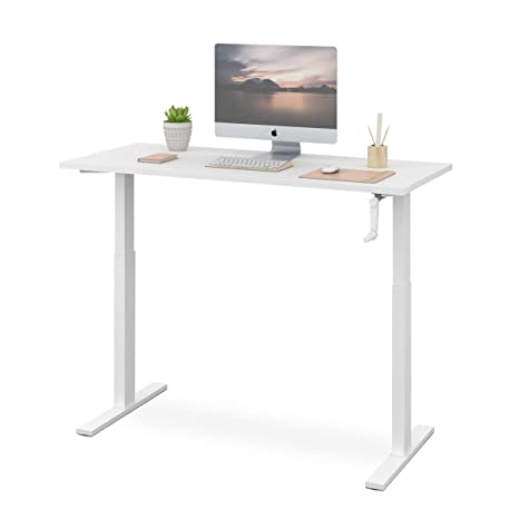 Amazing Devaise Standing Desk 55 Adjustable Sit To Stand Up Desk With Crank Handle White Home Interior And Landscaping Ponolsignezvosmurscom