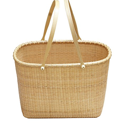 (Tengtian Handmade Rattan Bag Basket Organizer Wicker Bread for Storage Sewing kit Picnic Baskets with Handles Storage Baskets Woven Rectangular Storage Baskets Big)