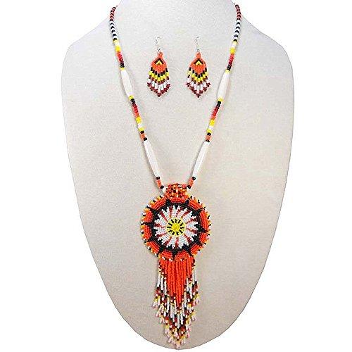 VivaApparel Handmade Orange Black Native Style Star Seed Beaded Medallion Necklace Earrings Set S51/2