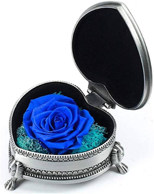 Mothers Day,Valentines Day Girls Preserved Fresh Flower Rose with a Acrylic Crystal Box ,Beautiful Blue Flowers, is a for Women Sister Anniversary Wedding Her Birthday Aunt