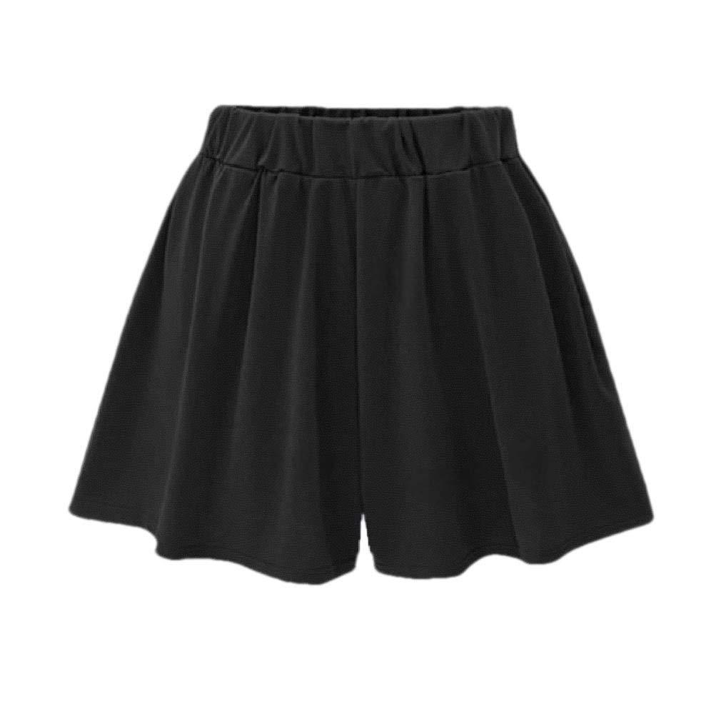 Zimaes-Women Baggy Style Plus-Size Culottes Solid Color Wide Leg Shorts