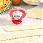 Hutzler 3856RD Adjustable Pastry Wheel, One Size, Red 4 Select your choice of 3 dough cutting edges: straight, fluted, and perforated (dough docker) Simply turn the dial to select the desired edge Sides come apart for easy cleaning