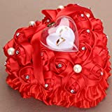 bgblgf M Romantic Rose Wedding Ring Cushion Heart Ring Pillow Jewelry Box NEW, Red, 2525cm