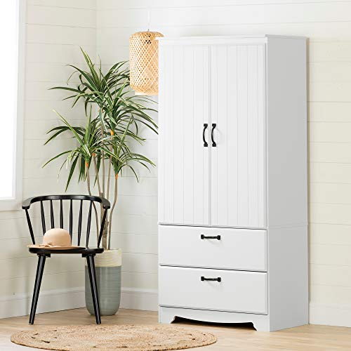 South Shore 12275 Farnel Armoire Pure White (White Armoire Wardrobe)