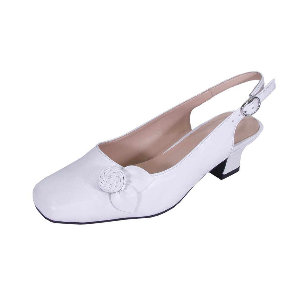 Peerage Cheryl Women Wide Width Slingback Comfort Dress Low Heel Shoes for Wedding, Prom, Evening, Work B07D2TJY17 6 E|White