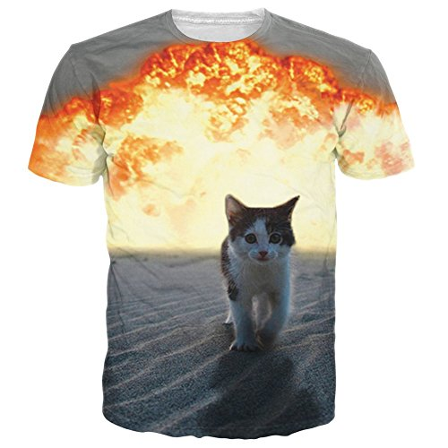 RAISEVERN Unisex Cool Explosion Cat Printed Graphic T Shirt Tops, Explosion Cat, US Small / Asian Large
