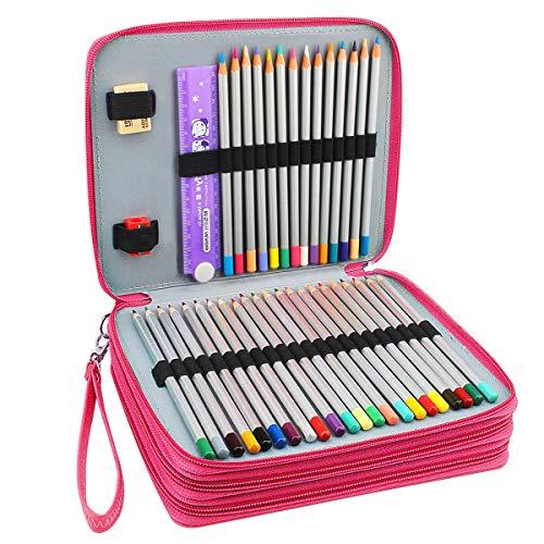 Miraclekoo 120 Slots PU Leather Pencil Holder Pencil Case Large Capacity Multi-layer Pencil Bag (ROSE)
